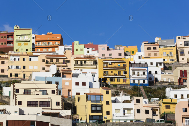 Colorful houses on the ridge, la gomera