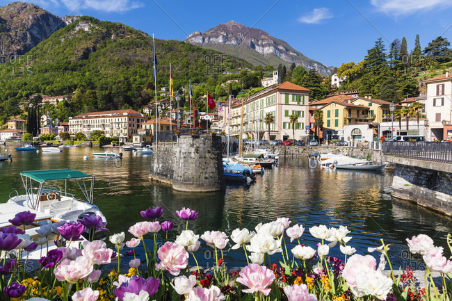 April 23, 2014: Little harbour in front of menaggio, lake como, lombardy, italy