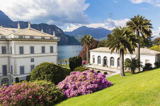 Park at villa melzi above lake como, bellagio, lombardy, italy