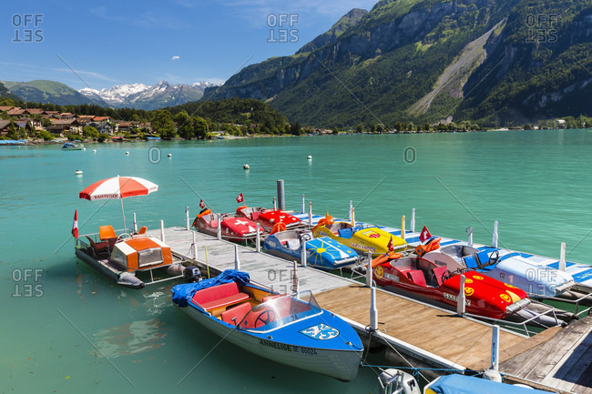 July 18, 2014: Paddleboat rental jetty on the lake brienz, bernese oberland