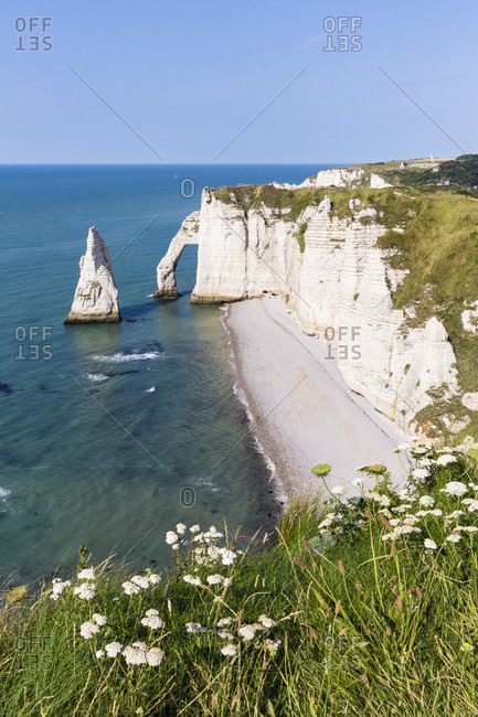 The rock formation port d'aval cliff, a natural arch and the needle, cote d'albatre, the alabaster coast, pays de caux, seine-maritime