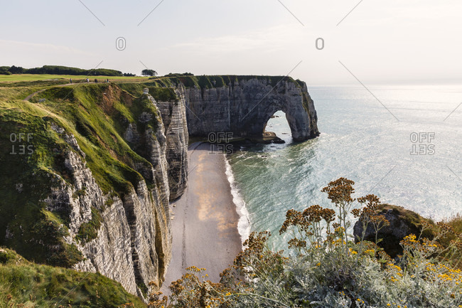 The natural arch la manneporte, cote d'albatre, the alabaster coast, pays de caux, seine-maritime