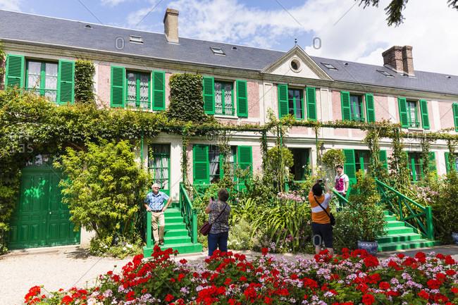 July 30, 2014: Geranium flower beds at claude monet's house and garden, foundation claude monet, eure, haute normandy