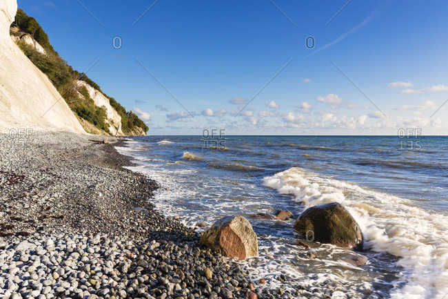 Mons klint, chalk cliffs and pebble shore, baltic sea, mon island, seeland region