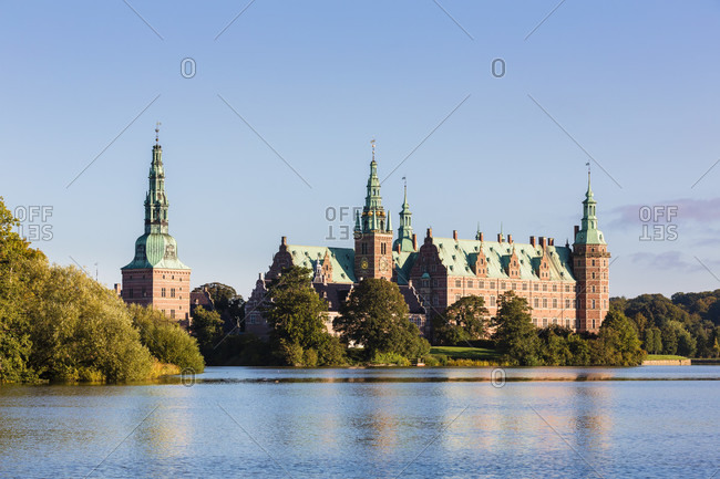 Frederiksborg castle surrounded by water, formerly royal residence for king christian iv and is now a museum of national history