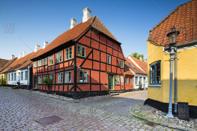 September 5, 2014: Half-timbered old house in a cobblestone alley of aeroskobing, aero island