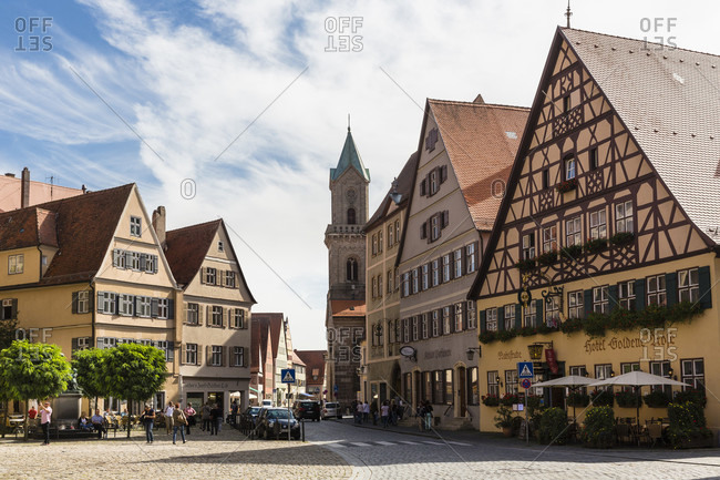 September 18, 2014: Row of historic town houses with sharp gable by the parish church st.-georg, romantic road (romantische strasse), franconia