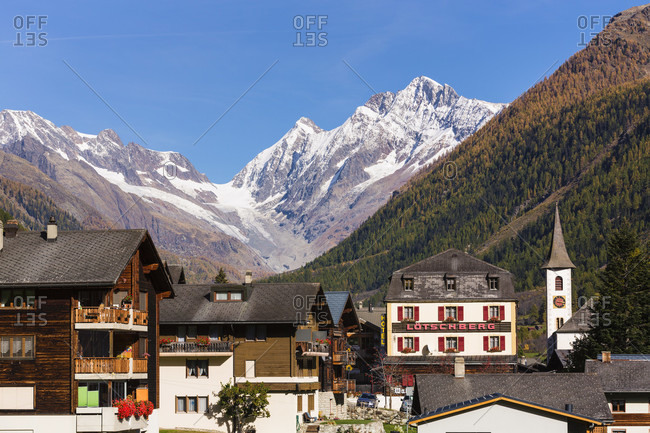 October 19, 2014: Church and hotel in front of loetschenluecke, loetschental, jungfrau region, unesco world heritage region, autumn