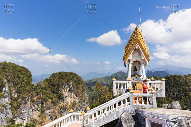 February 8, 2015: Little buddhist temple on the top of the 1237 stairs walk, tiger cave temple wat tham sua