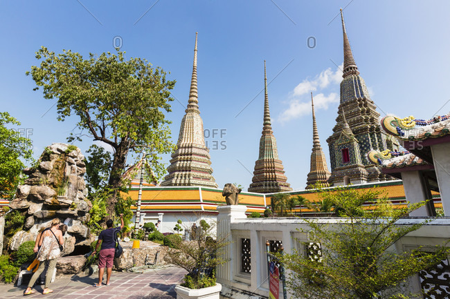 February 15, 2015: Chedis at bhuddist temple wat pho, one the largest and oldest in bangkok, phra nakhon district
