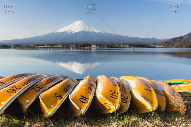 April 15, 2015: Row of yellow rowing boats on the shore at lake kawaguchi in front of mount fuji