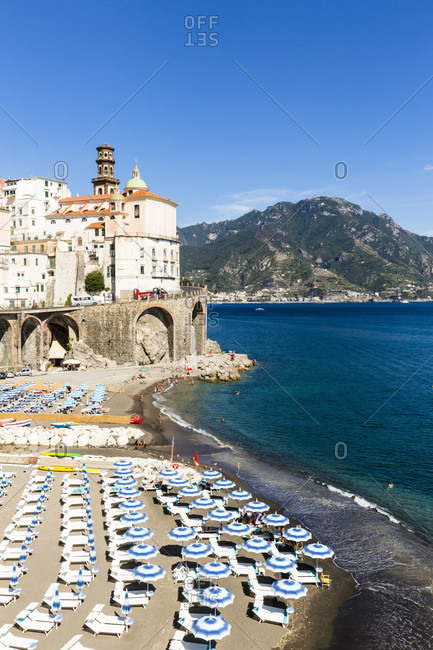 Beach by the church of santa maria maddalena and coast road