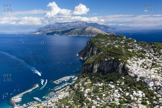 Elevated view on capri, the gulf of naples and the sorrento pininsula