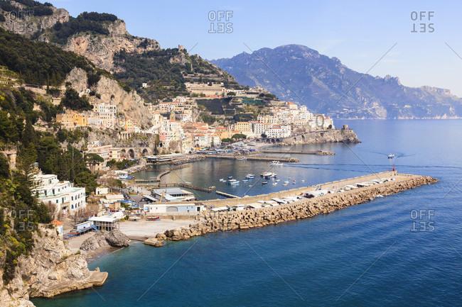 Elevated view on the amalfi coast, unesco world heritage site