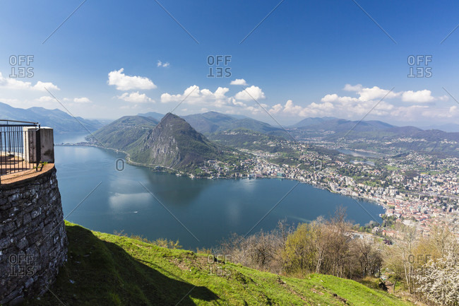 Elevated panorama view on lugano and lake and monte san salvatore, spring