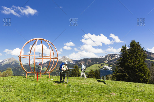 June 2, 2018: People visiting the astropark on the mountain les pleiades, spring