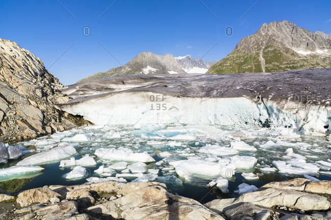 Ice in a pond at the aletsch glacier, lake maerjelensee (geisshorn)