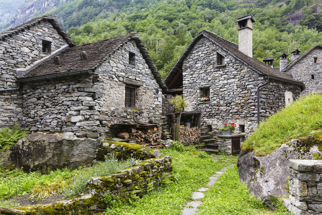 Medieval village with typical rustic stone houses, bavona valley
