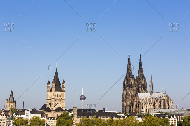 Panoramic view of cologne with great st. martin church and cologne cathedral by the river rhine
