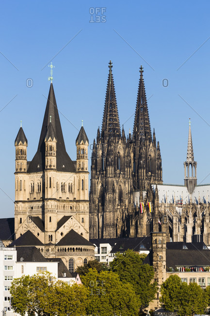 Panoramic view of cologne with great st. martin church and the cologne cathedral