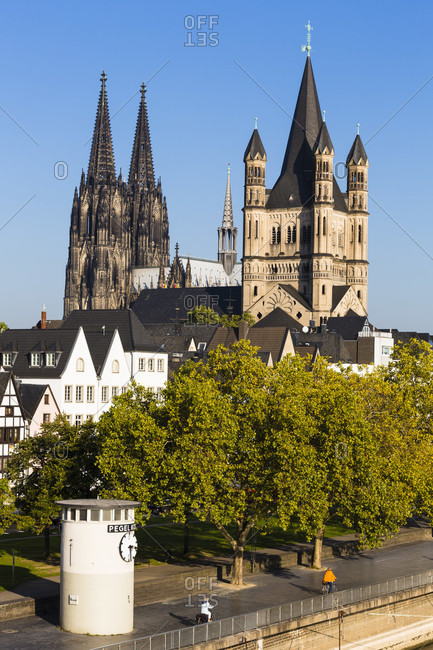 June 2, 2018: Panoramic view of cologne with great st. martin church and the cologne cathedral