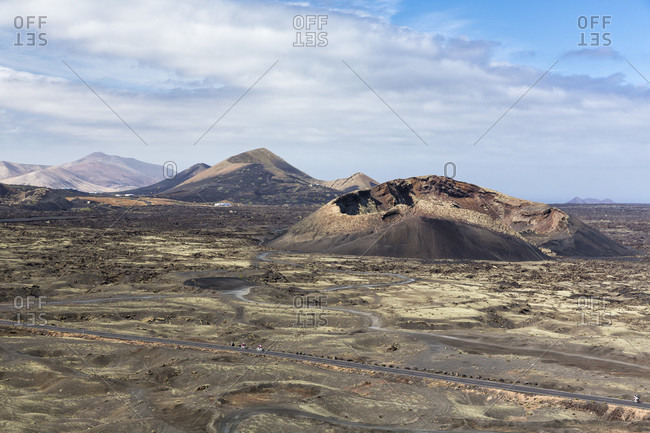 Volcanic landscape, montanas del fuego in the background