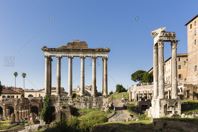 May 30, 2018: Roman forum, temple of saturn, unesco world heritage site