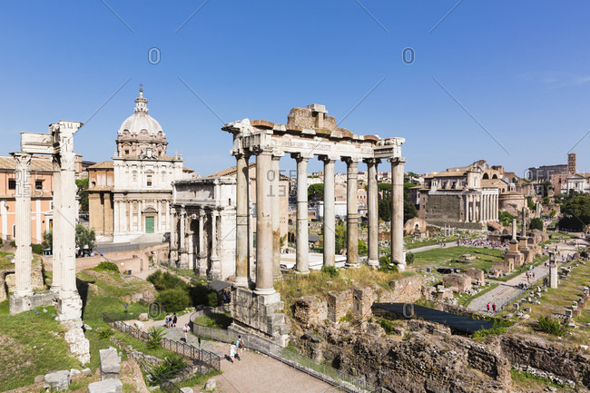 May 30, 2018: Roman forum, arch san severus and temple of saturn, unesco world heritage site