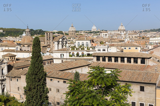 Elevated view of rome, st. peters basilica in the distance