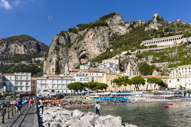 May 30, 2018: View the promenade on amalfi and its beach