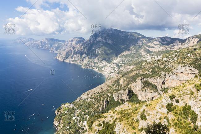 Hike on the sentiero degli dei or gods' pathway above the amalfi coast
