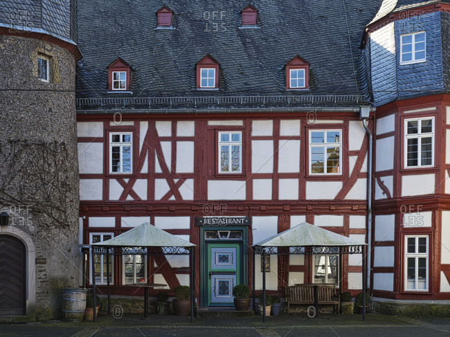 March 23, 2020: Europe, germany, hesse, lahn-dill-bergland nature park, city of herborn, former high school (1599), now a museum and restaurant, view from the inner courtyard