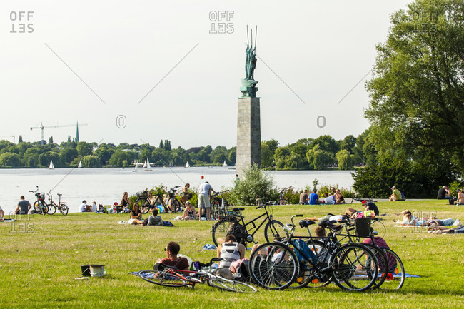 August 2, 2015: A sunny day in august on the banks of the alster in hamburg