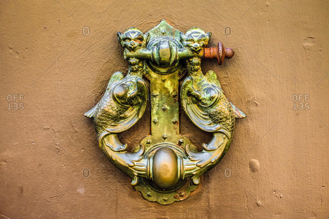 Italy, ravenna, door knocker. Wide shot