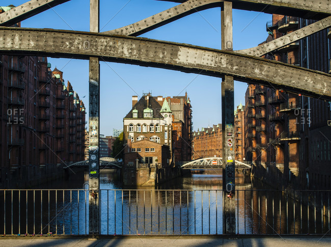 May 1, 2017: Germany, hamburg, moated castle, view from the east, poggenmühlenbrücke (bridge) detail