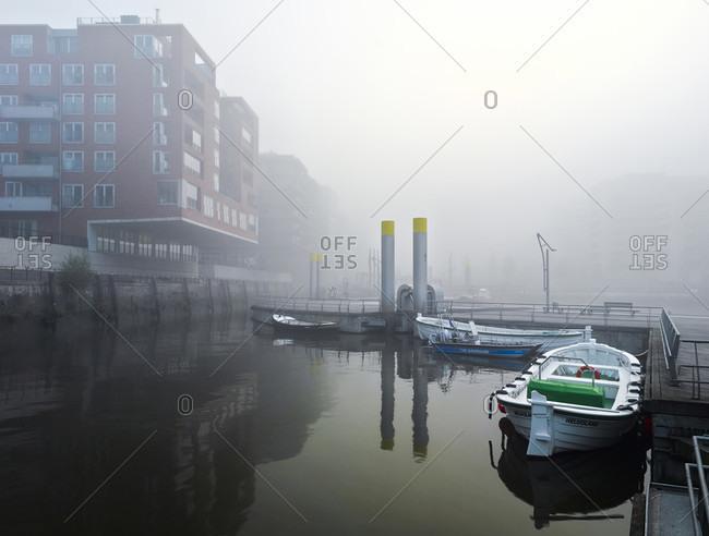 October 10, 2018: Modern residential and office buildings, sandtorkai by haze, sandtorhafen, harbor city, hamburg, germany, europe