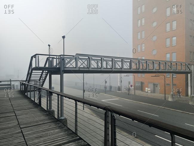 Harbor city hamburg by haze, hamburg, germany, europe