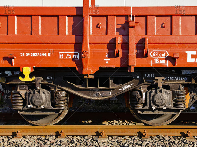 April 17, 2019: Wheels on a freight wagon standing on a rail, hamburg, germany, europe