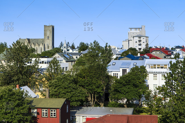 Architecture in reykjavik, aerial view, iceland