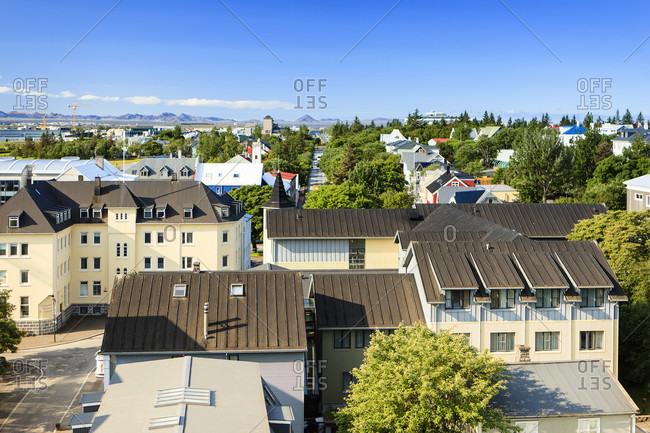 Reykjavik, iceland, aerial view, beautiful panoramic view.