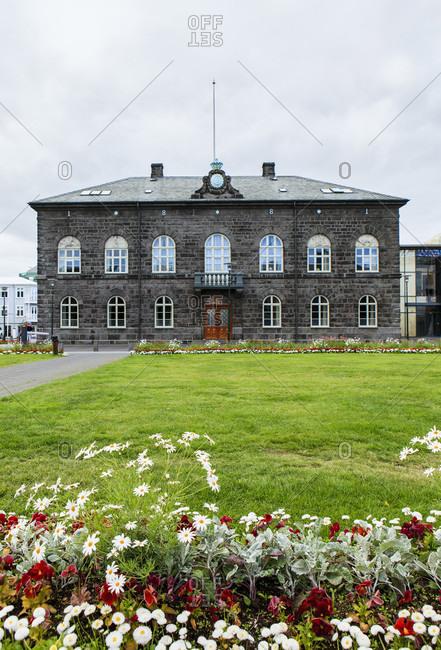 Reykjavik parliament building, iceland. Wide shot.