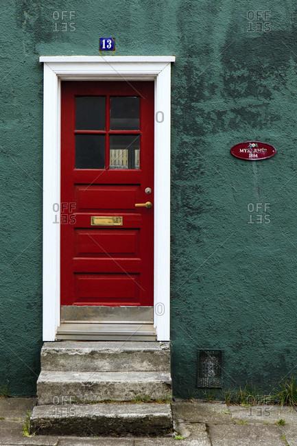 July 8, 2019: Front door in reykjavik, iceland