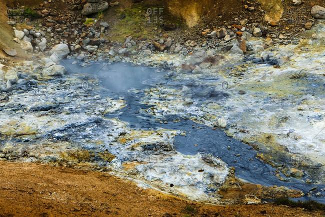 Geothermal area, mineral deposits, krýsuvík volcanic system, iceland