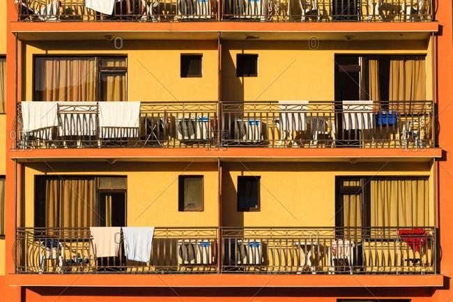 August 28, 2019: Tourist hotel in obzor, bulgaria