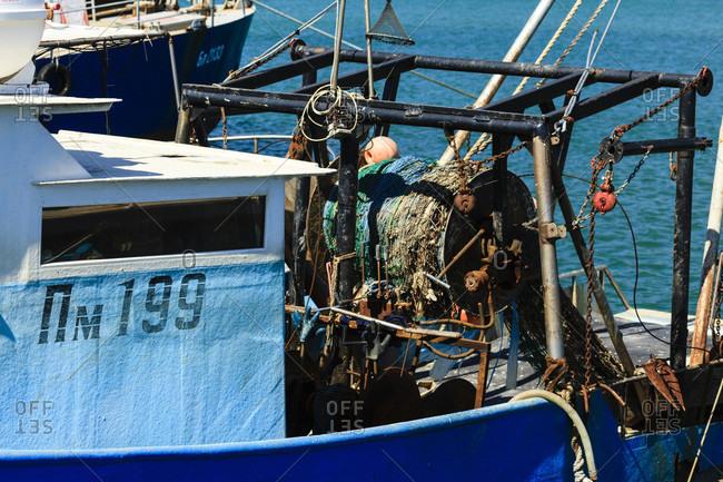 August 31, 2019: Fishing trawler in byala bay, buigaria