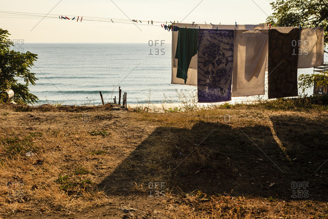 Drying laundry in the courtyard of a house, black sea coast in obzor, bulgaria