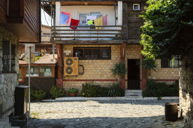 September 3, 2019: Residential area in the old town of nessebar, bulgaria