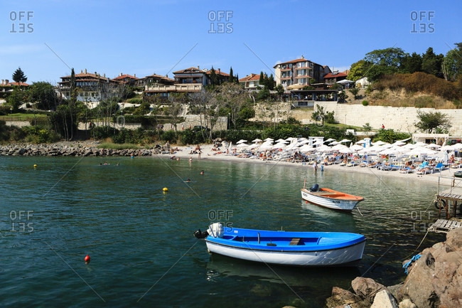 September 3, 2019: Beach at nessebar, black sea, bulgaria, europe