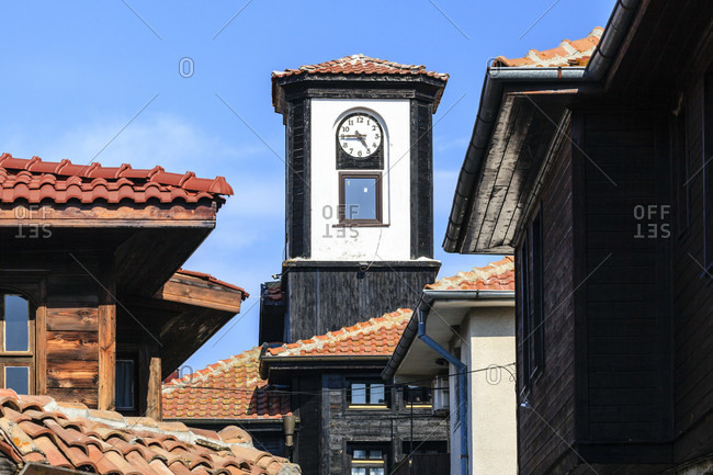 Architecture in nessebar, tower with clock, bulgaria
