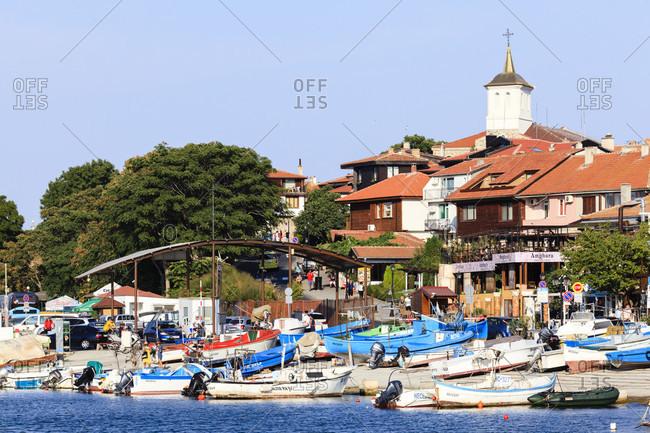 September 3, 2019: Fishing boats in the port of nessebar, bulgaria.